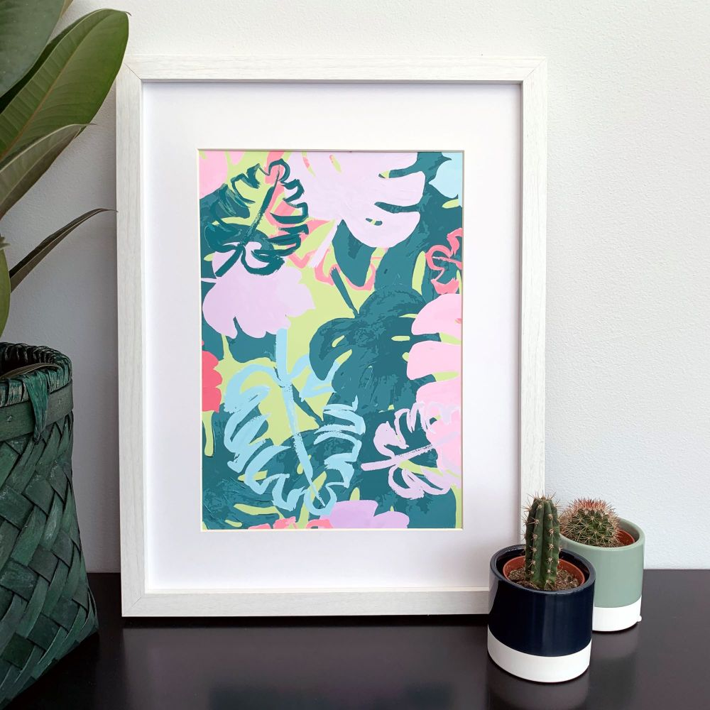 'Lime Leaves' Abstract Print