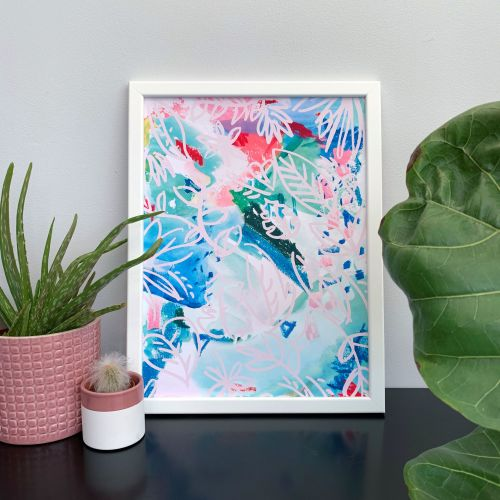 'Rainforest Flowers' Abstract Print