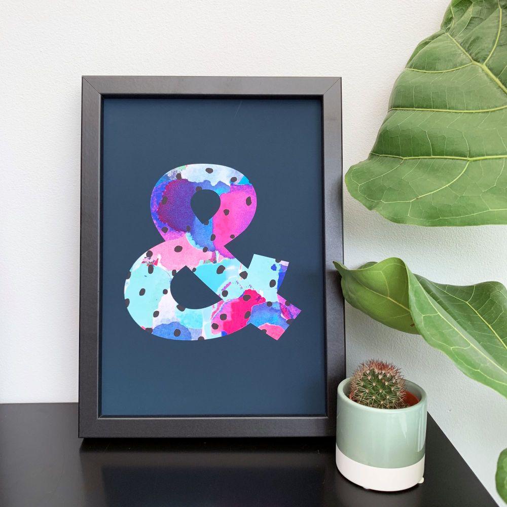 Navy Cacti Ampersand Print