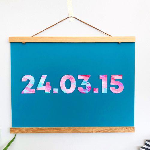 Turquoise Customised Date Print