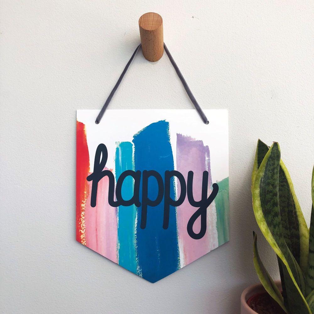 'Happy' Pennant Flag Hanging Decoration