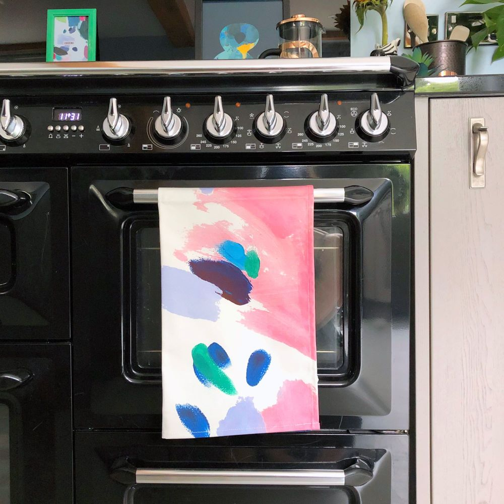Abstract Paint Print Tea Towel