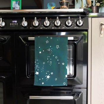 Night Sky Constellation Print Tea Towel