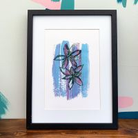 'Abstract Waterlily Blue' Print