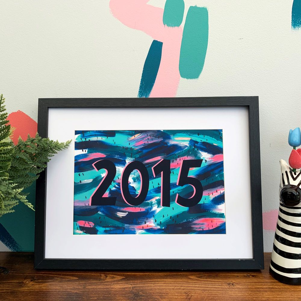 Customised Year Colourful Abstract Print