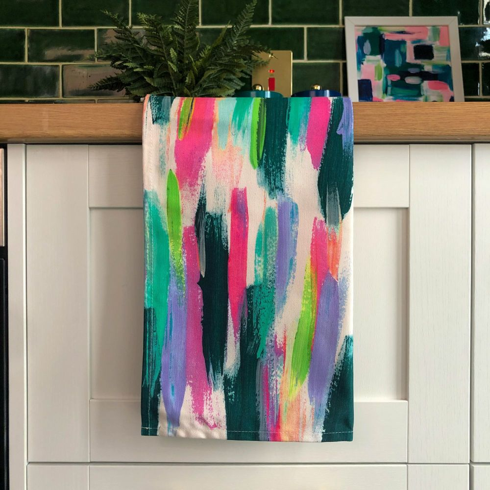 Rainbow Stripe Print Tea Towel