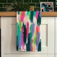 'Rainbow Stripe' Print Tea Towel