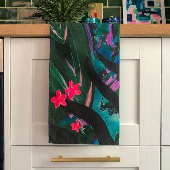 'Tropic Zebra' Print Tea Towel