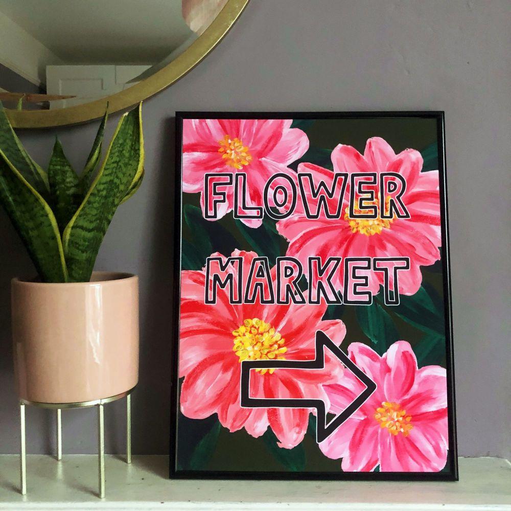 Flower Market Print - Pink
