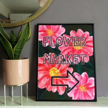 'Flower Market' Print - Pink