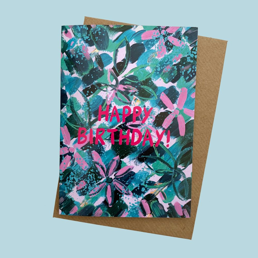 Floral Abstract 'Happy Birthday' Card