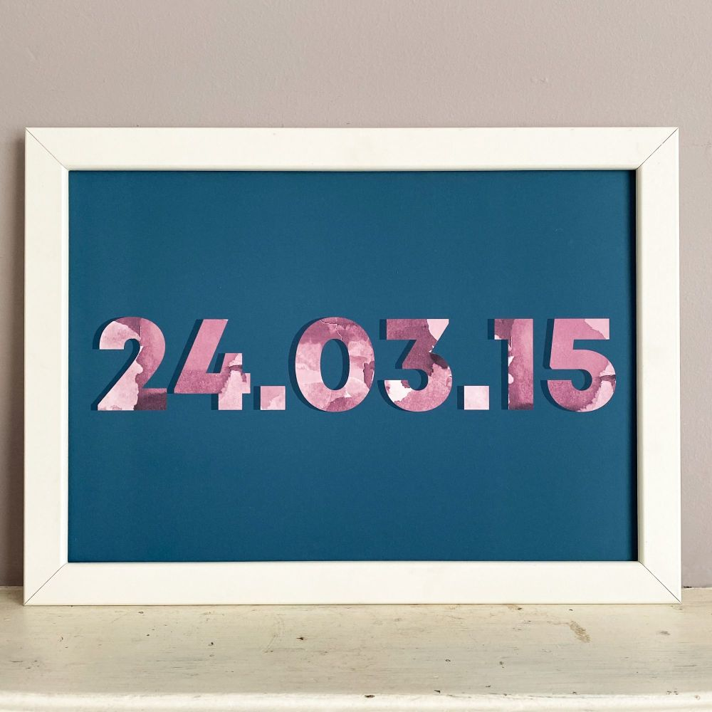 Dark Blue & Pink Customised Date Print