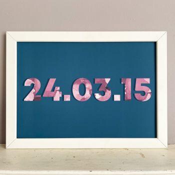 Dark Blue & Pink Customised Date Print