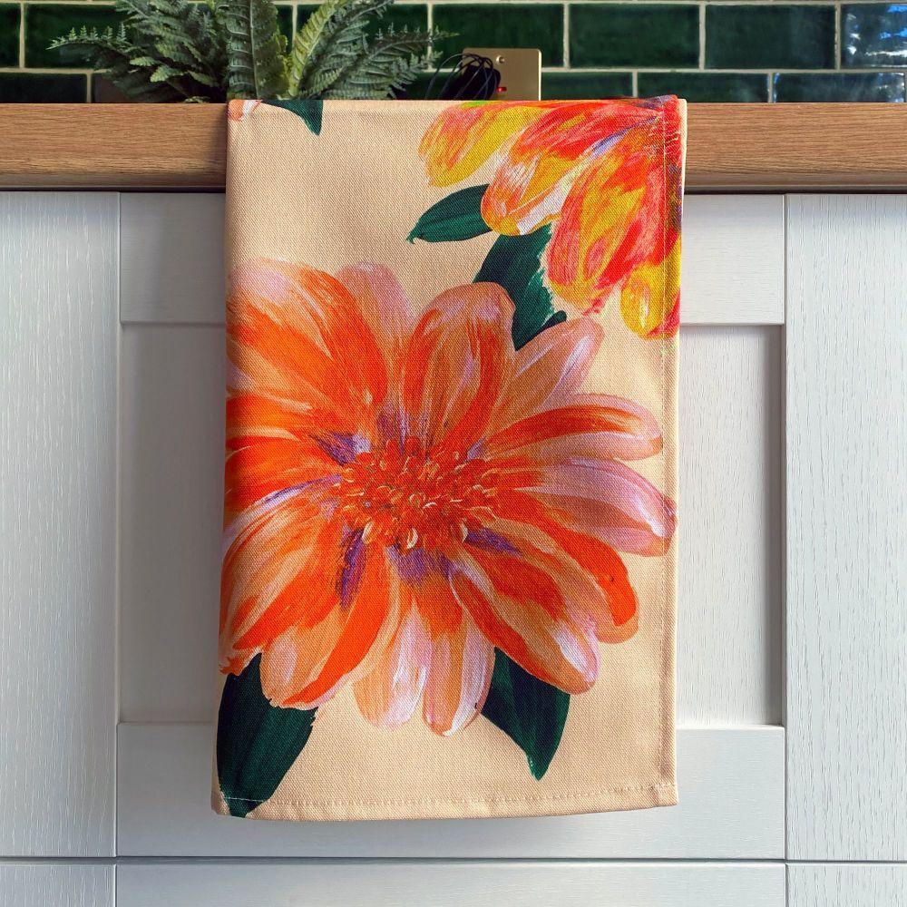 'Flora' Print Tea Towel