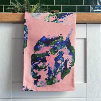 'Painterly Leaves' Print Tea Towel