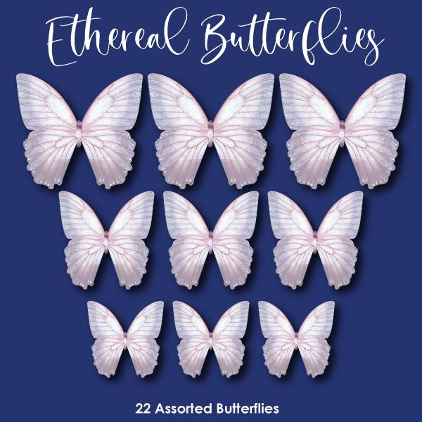 Crystal Candy Edible Wafer Butterflies -  Ethereal Butterflies