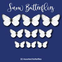 Crystal Candy Edible Wafer Butterflies -  Snow Butterflies