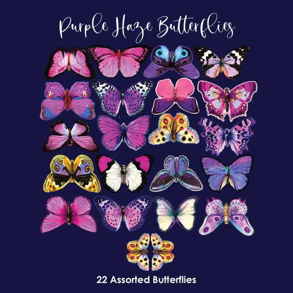 Crystal Candy Edible Wafer Butterflies -  Purple Haze Butterflies