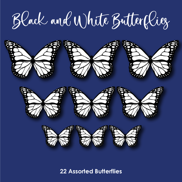 Crystal Candy Edible Wafer Butterflies -  Black and White Butterflies