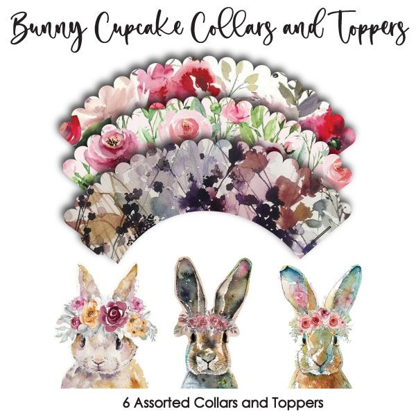 Crystal Candy Cupcake Collars & Toppers - Bunny