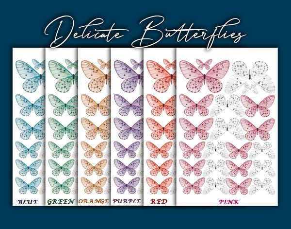 Crystal Candy Edible Wafer Butterflies -  Delicate Butterflies