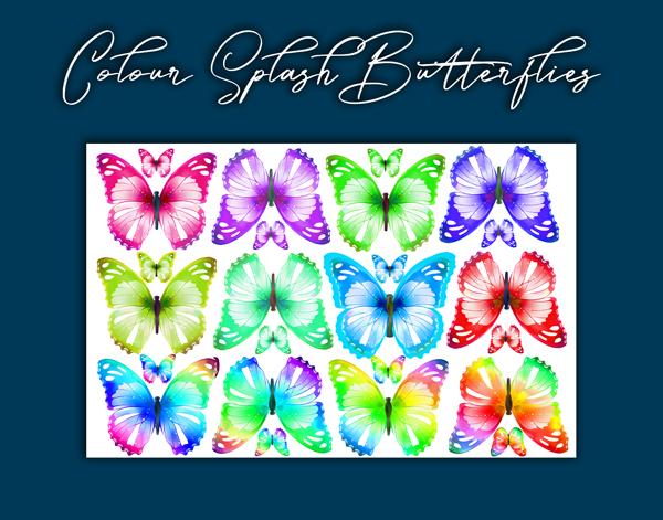 Crystal Candy Edible Wafer Butterflies -  Colour Splash Butterflies