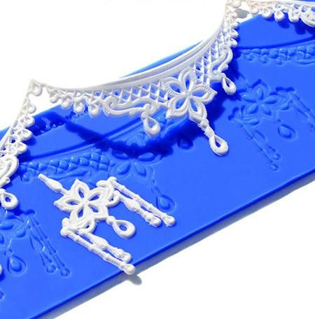 Crystal Candy Silicon Lace Mats - Platinum - Ornate