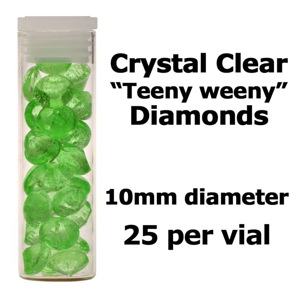 Crystal Candy Edible Isomalt Diamonds - 10mm. Apple Green