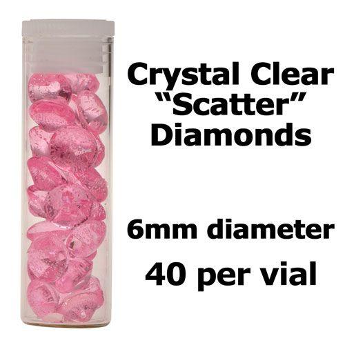 Crystal Candy Edible Isomalt Diamonds -  6mm. Pale Pink