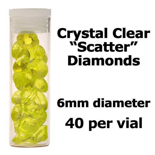 Crystal Candy Edible Isomalt Diamonds -  6mm. Lime