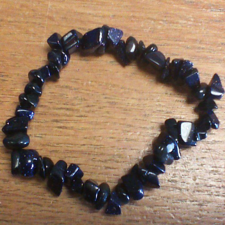Gemstone Chip Bracelet - Blue Goldstone