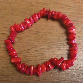 Gemstone Chip Bracelet - Coral