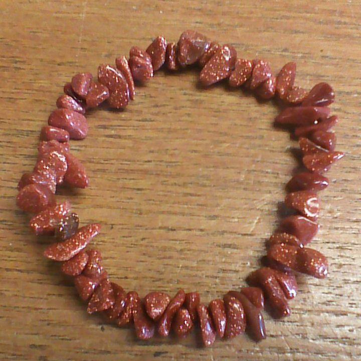 Gemstone Chip Bracelet - Goldstone