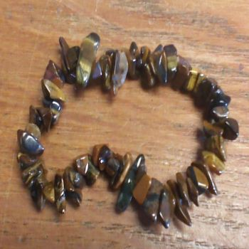 Gemstone Chip Bracelet - Tigers Eye