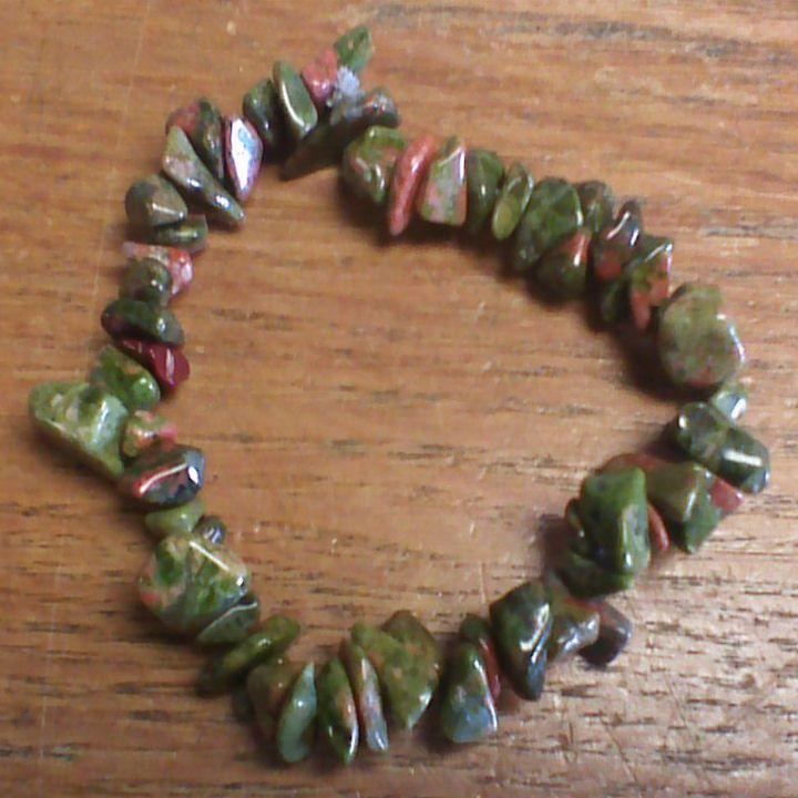 Gemstone Chip Bracelet - Unakite