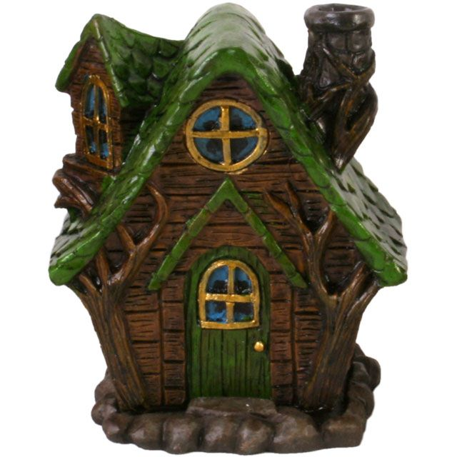 Fairy House Incense Cone Burner - Green Roof