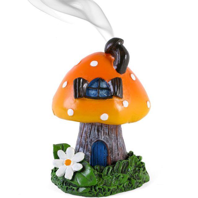 Smoking Toadstool Incense Cone Burner - Orange