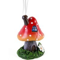 Smoking Toadstool Mushroom Incense Cone Burner - Red