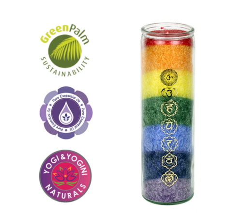 Chakra Rainbow Candle 7 Chakras with Essential Oils