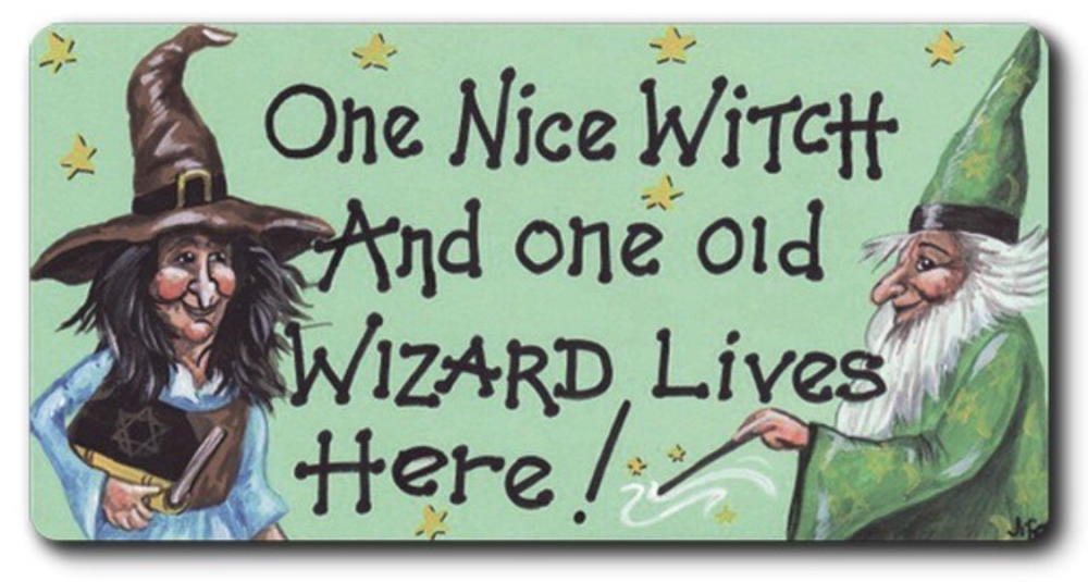 Magnet - One nice witch and one old wizard lives here!