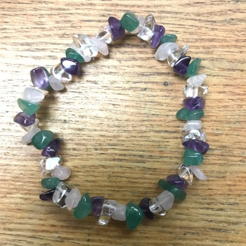 Gemstone Chip Bracelet - Green Aventurine/Rose Quartz/Clear Quartz/Amethyst Mix