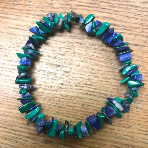 Gemstone Chip Bracelet - Lapis Lazuli/Malachite Mix