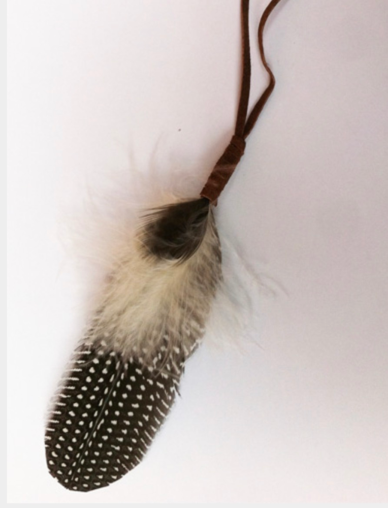 Small Smudge Feather with Suede Handle