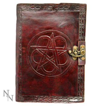 Leather Journal Pentagram and Lock - Medium