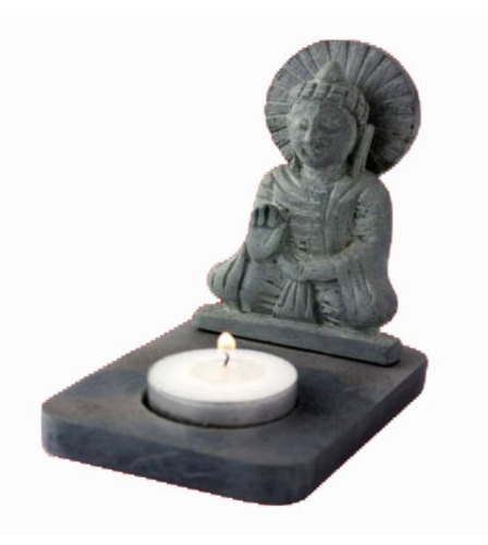 Tea-light Holder - Buddha, Black Soapstone