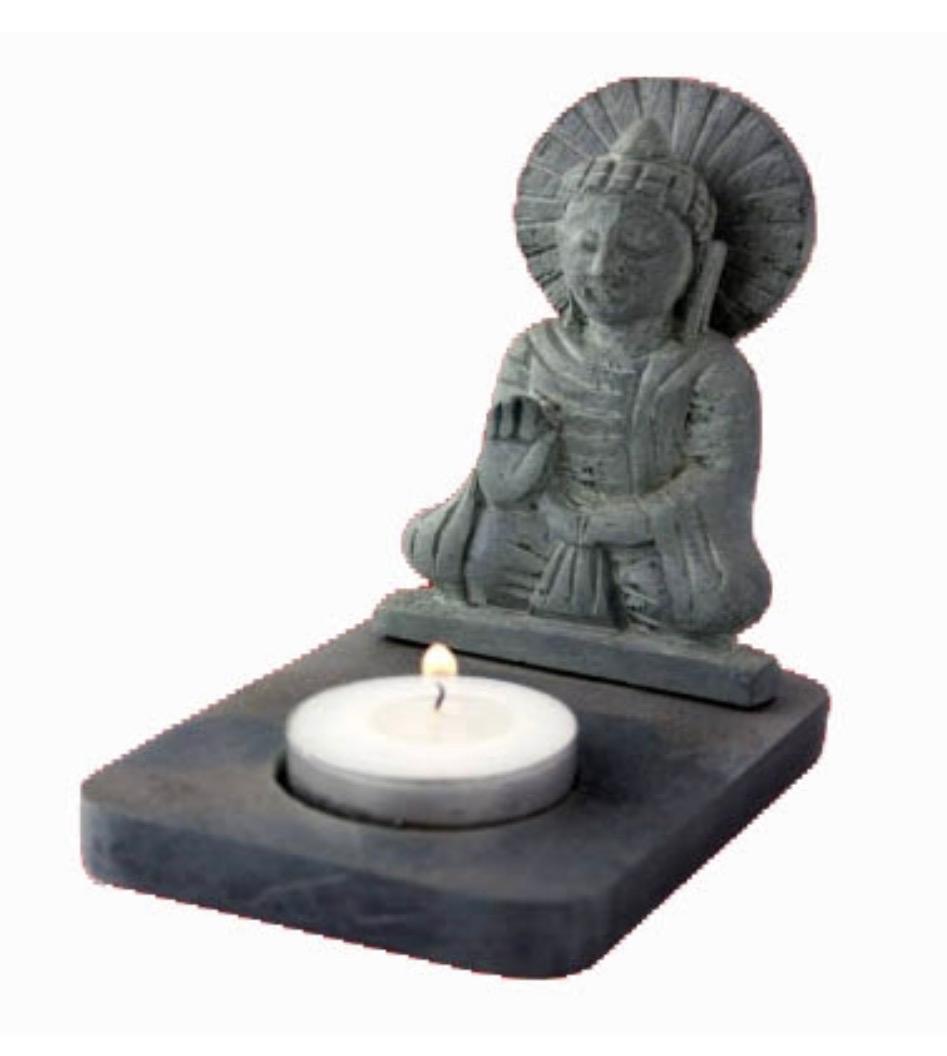 Tea-light Holder - Buddha, Black Soapstone