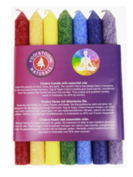 Chakra Dinner Candles with Fragrance - Set of 7