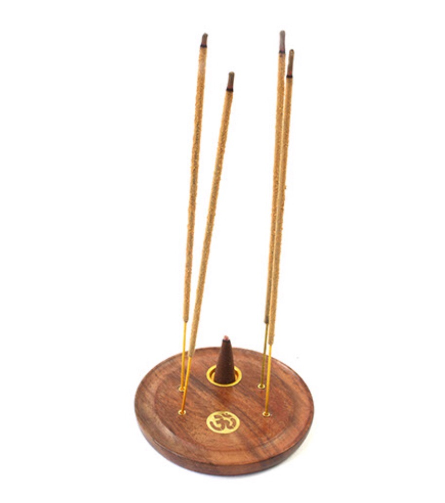 Round Wooden Ash Catcher Incense Plate for Cones and Sticks