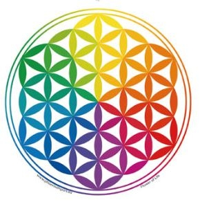 Window Sticker - Flower of Life Rainbow