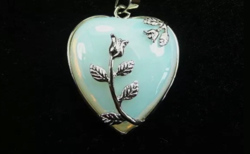 Opalite Moonstone - Heart Necklace